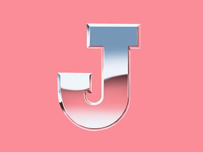 Chrome J for 36 Days of Type procreate app procreate 36daysoftype serenity capital rose quartz pink chrome typography lettering type design letter j