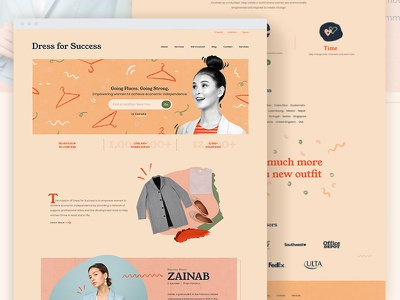 Dress for Success madewithxd procreate empowerment woman homepage landing page collage makeup clothes drive redesign fashion typeface youngserif adobe xd ui donate charity