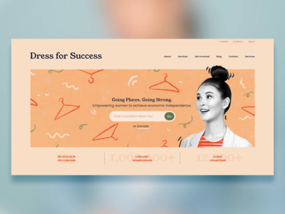Dress for Success in Motion landing page website web donate donation charity youngserif adobe xd adobexd after effects ui animation redesign procreate illustration typography animation design adobe xd ui