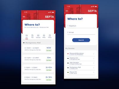 Septa Mobile App madewithxd philadelphia iphone x travel app bus transit mobile app design train mobile app redesign design adobe xd ui