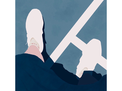 Light & Shadow digital art lines minimal abstract ipad pro sunny blue color texture sneaker court illustration procreate