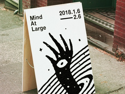Mind At Large psychedelic trippy hand mind at large sandwich board signage design illustration