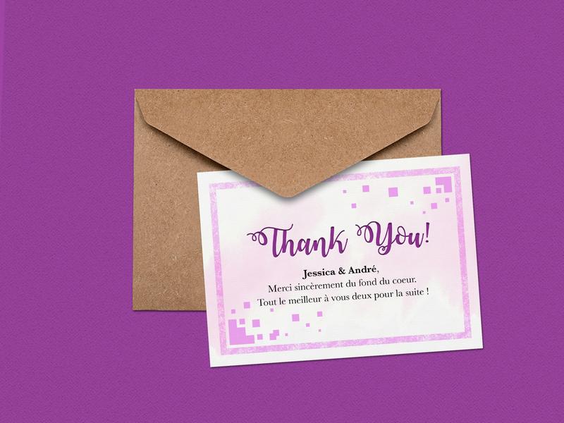 Thank you card design postcard violet purple card design envelope thank you card print illustrator creative vector typography design