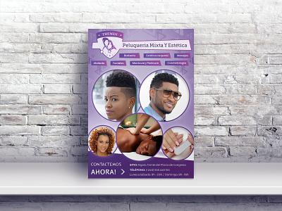 Flyer Design advertisment hairdresser hair salon haircut creative purple brochure design violet design typography print flyer design flyer