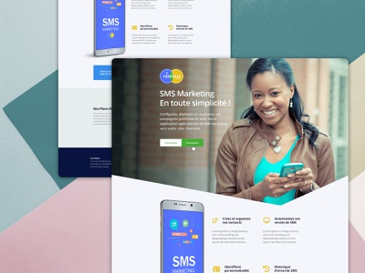 Product Landing Page single page website web design french sms marketing landing landing page