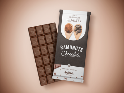 Ramonuts Chocolate - Dribbblium Quality candy bar candy sweet print design design nuts ramonuts packaging design packaging dribbbleweeklywarmup dribbble branding branding caramel chocolate bar chocolate packaging chocolate