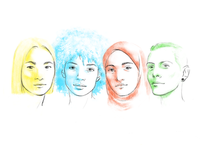 Women america gender social justice sisterhood portrait realistic diverse diversity illustration women american