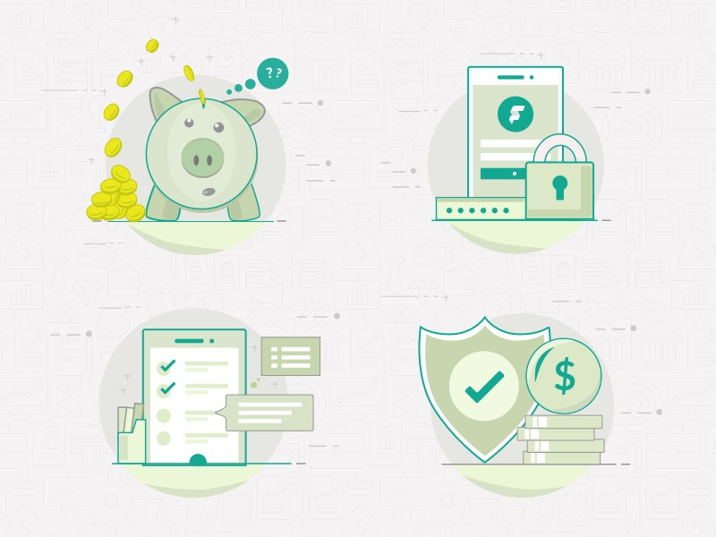 Icons for financial control app check coin pork shield security mobile app control financial finance illustration icons