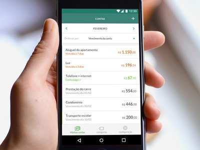 Expense list for financial control app