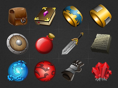 Rpg Iconset rpg icons iconset game video game backpack book grimoire ring shield health potion sword orb glove crystal
