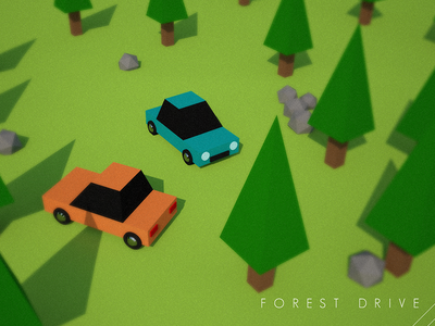 Forest Drive flat shading cinema4d