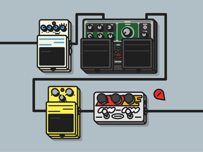 Pedalboard vector illustration roland zvex boss pedals guitar