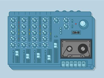 Tascam 414 analog vector illustration recording cassette