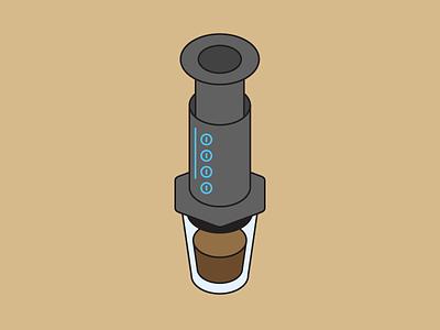 Aeropress isometric aeropress coffee illustration vector