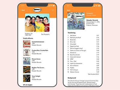 Music App Concept ui pavement prototype mockup iphone music app