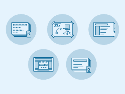 Facilitation Process Illustrations illustration design thinking facilitation process vector icons