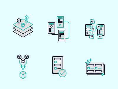 Design process icons process icon design vector illustration