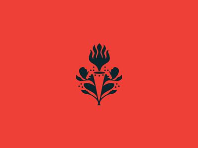 Torch Mark raleigh negative space flora restaurant branding branding logo restaurant fire torch