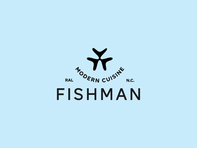 Fishman Logo Lockup north carolina raleigh restaurant man fish logo lockup logo
