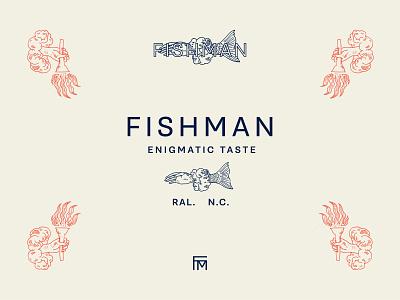 Fishman Lockup north carolina raleigh man fish illustration restaurant identity lockup logo