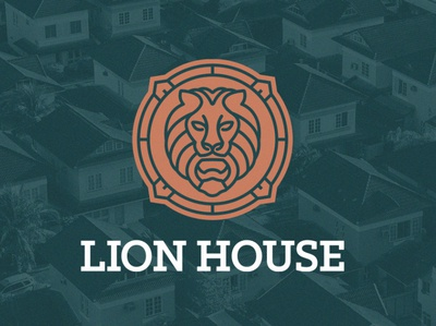 Lion House Logo font head animal icon branding vector custom design logo