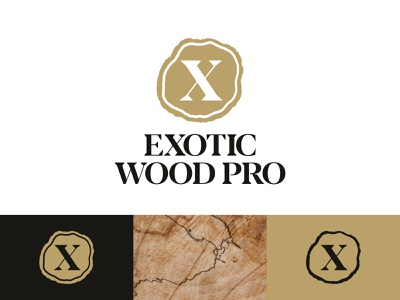 Exotic Wood Pro Logo export exotic brand woodworking wood icon typography branding vector custom design logo