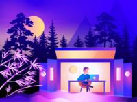 Illustration of graphic designer life