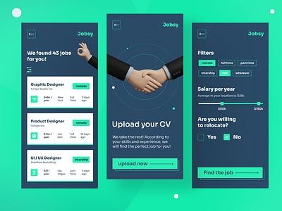 Jobsy - Find the perfect job salary cv business green uidesign mobile app design mobile mobile apps mobile app ui funny job application work job
