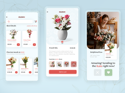 Flovy - Check before get ecommerce search single product card 360 view 360 shopify baby blue red green decline accept business tinder videocall shop flowers florist flower