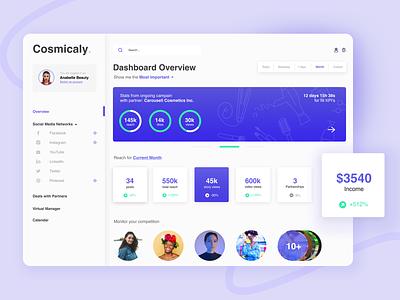 Dashboard UI facebook influencer branding marketing social media business designer management system management desktop design dashboard ui dashboad