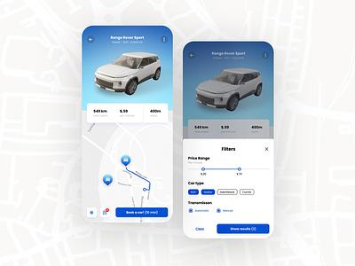 Car Rental ui user interface product design filter rental car animation design mobile business mobile app car rental