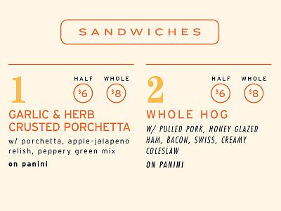 Who Doesn't Love Sammiches? futura caslon interstate font whole hog menu type sandwiches sammiches