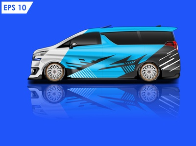 Car wrap mockup design vector eps10