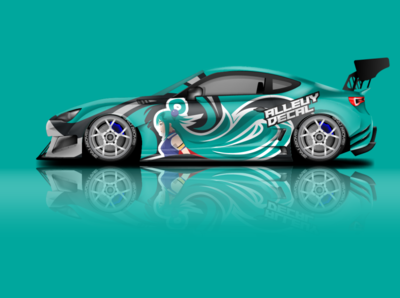 Car wrap design mockup vector