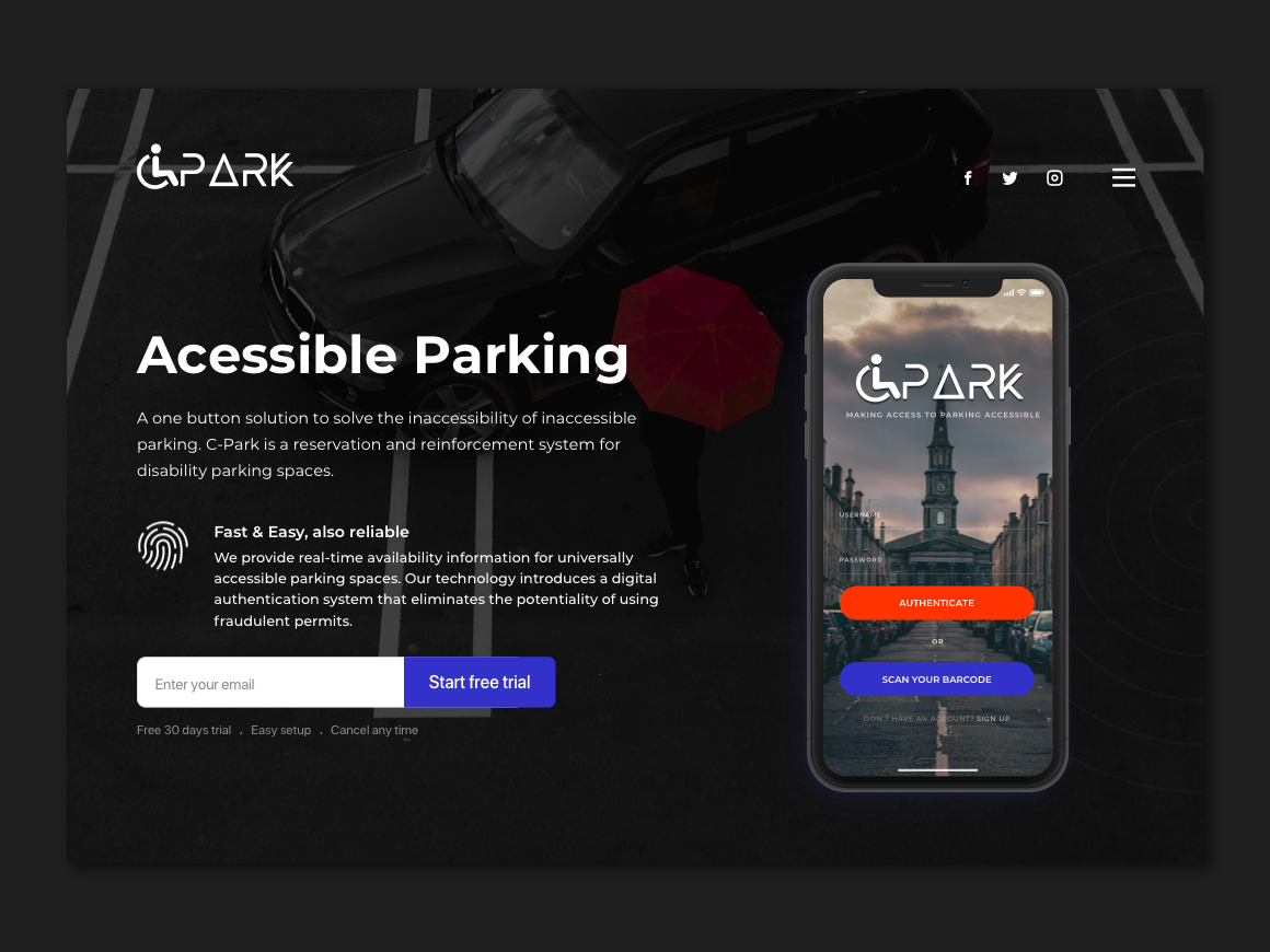 C-Park - Accessible Parking landing page webdesign logo visual design ireland dublin product design brand manual branding iot hackaton parking parking app accessibility accessible ui ux design ux case