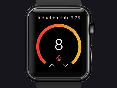 Smart Hob for Apple Watch minimalism interace user inteface dark theme clean app concept app ui deisgn ui  ux design smart home smart hob cooking kitchen adjustment temperature apple watch