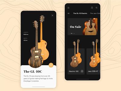 Improvise Guitar Shot simple minimalism dailyui electric guitar jazz bass music ecommerce dark clean mobileapp guitarist guitar uidesign