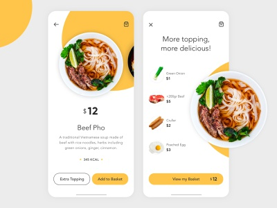 Food App - Beef Pho food and drink delivery restaurant meal dishes eat food vietnamese topping dinner lunch breakfast order food noodles sketch app add to cart ui design concept clean food app