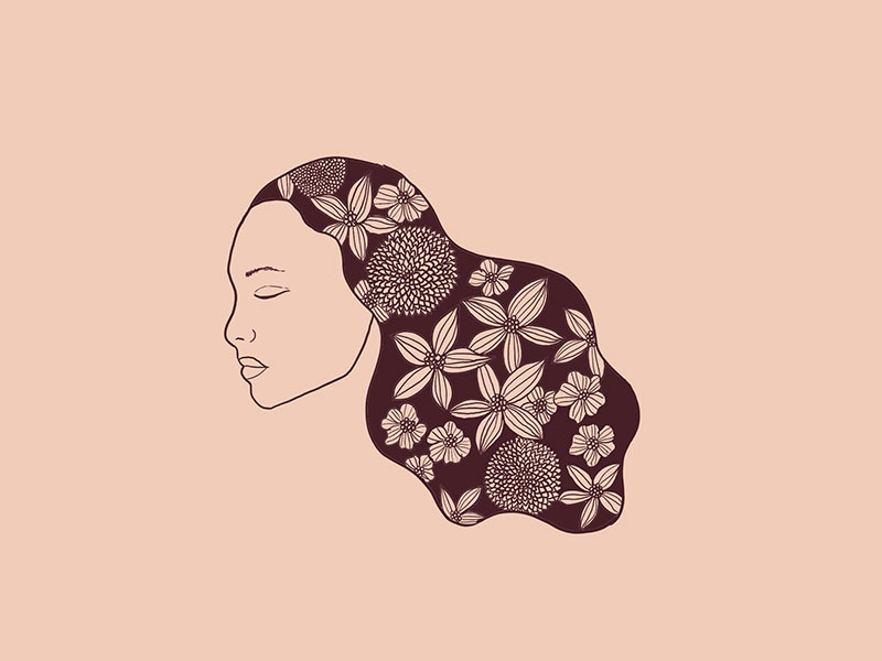 flow drawing hand drawn flowers floral illustration art girl hair illustration
