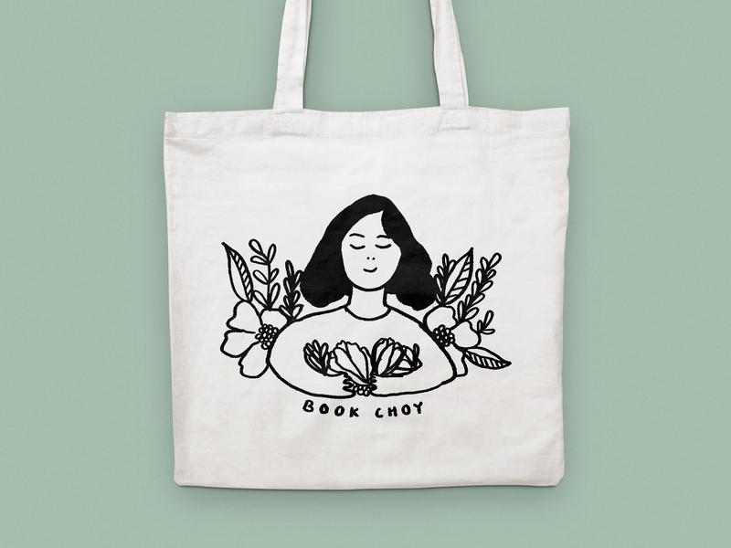 book choy drawing book bok choy girl hair tote art illustration