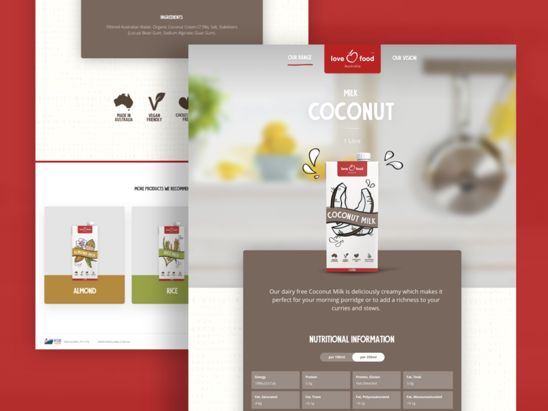 Product page branding ui design user inteface food and beverage milk product page web design agency web design