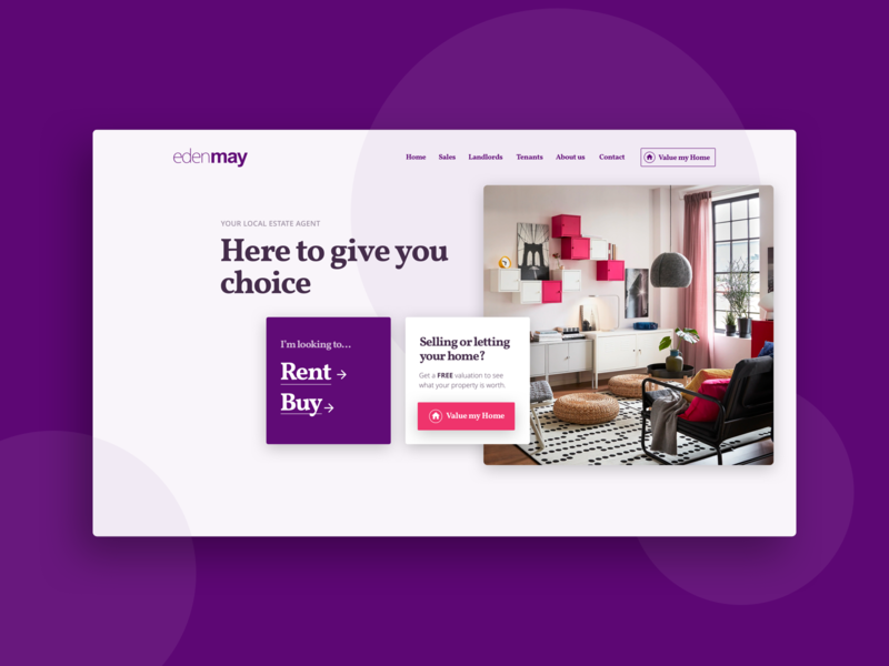 Edenmay - banner company website purple estate agents ux design interface design website ui design web design
