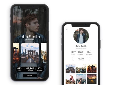 Socia Media - App social design concep studio iphone ios app profile ui