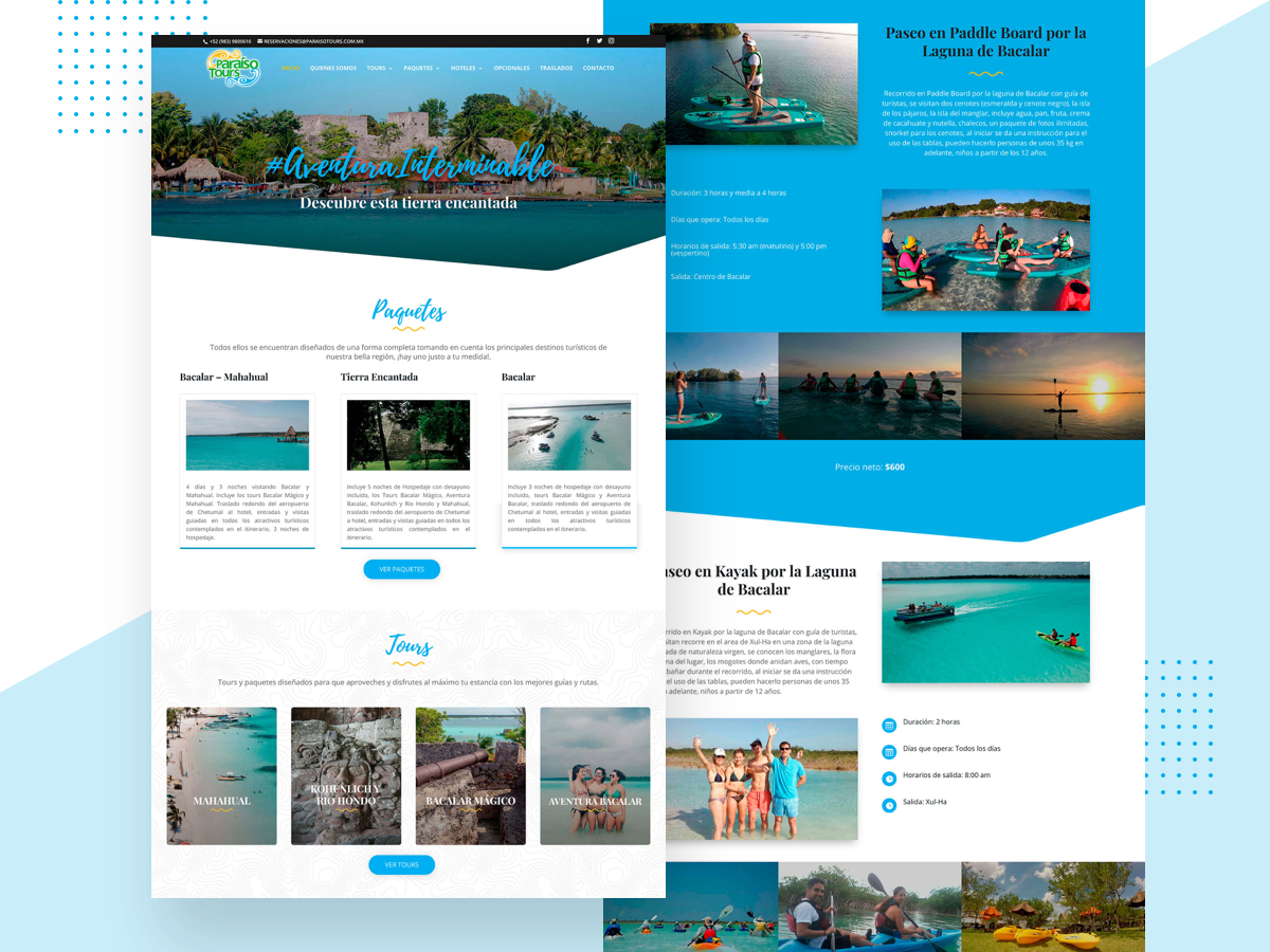 Paraiso Tours Website 2.0 brand identity startup home theme branding brand web development homepage redesing website agency travel landing page sketch