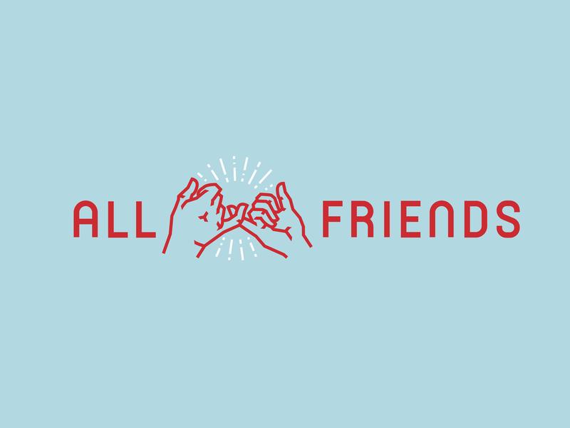 All Friends hands club friends illustration type lettering font letter branding brand identity logotype logo