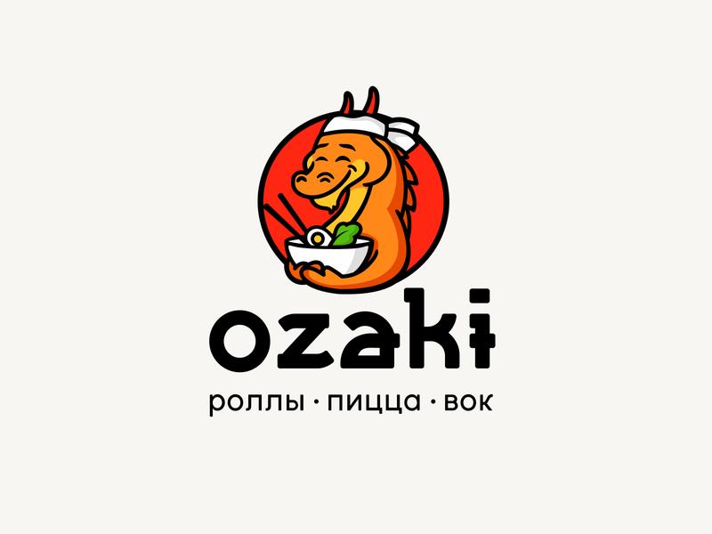 Ozaki asia restaurant rolls wok pizza ozaki simple illustration type lettering font letter branding brand identity logotype logo