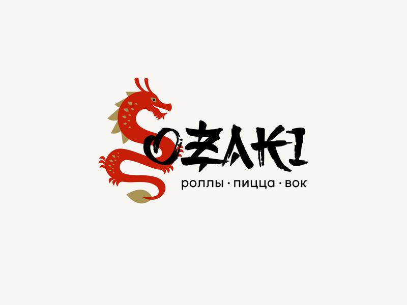 Ozaki rolls restaurant pizza ozaki simple illustration type lettering font letter branding brand identity logotype logo
