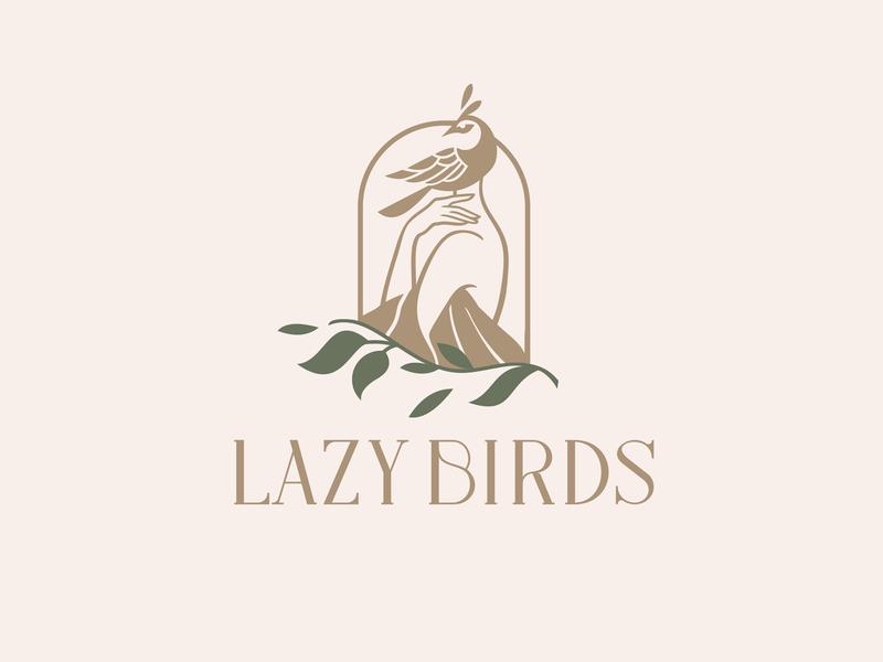 Lazy Birds manufacturer woman birds lazy simple illustration type lettering font letter branding brand identity logotype logo