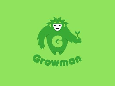 Growman grow growing plant home progressive fertilizers equipment design font letter branding brand logotype logo identity