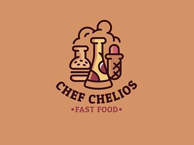 Chef Chelios hotdog burger pizza food fast chelios chef illustration design font letter branding brand logotype logo identity
